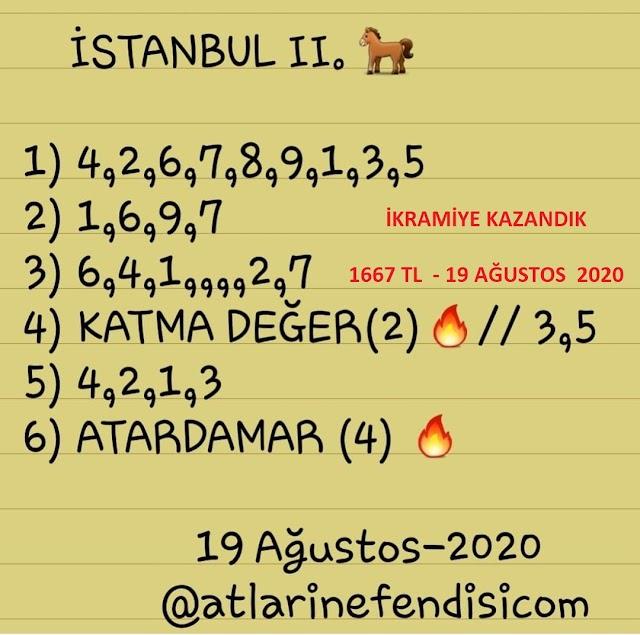 İkramiye Kazandık-19 Ağustos 2020 İstanbul 6'lısı -1667 TL
