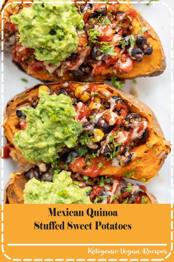 This recipe for Mexican Quinoa Stuffed Sweet Potatoes is an amazing way to pack in a ton o Mexican Quinoa Stuffed Sweet Potatoes