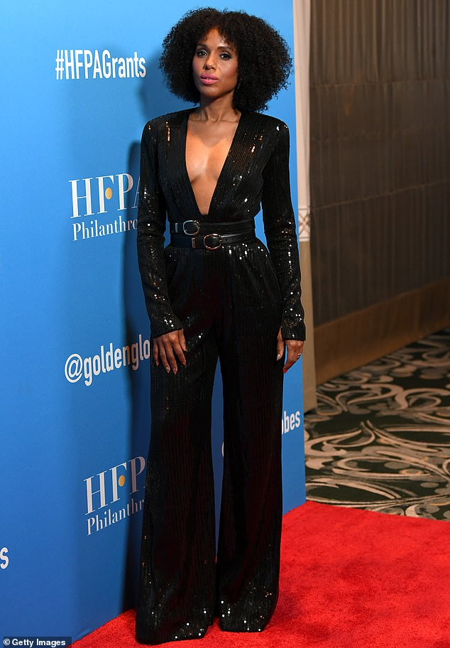 Kerry Washington glitters in plunging jumpsuit at Hollywood Foreign Press Association Grants Banquet