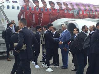 طائرة منتخب مصر تصل روسيا بثوبها الجديد بعد صراع المشاكل في الشركات الراعية