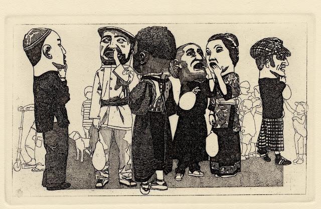 Cabezudos. Aguafuerte de José Luis Noain