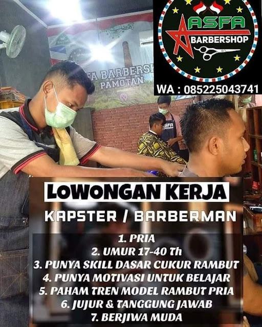 Lowongan Kerja Kapster Barberman Asfa Barbershop Pamotan Rembang Tanpa Syarat Pendidikan