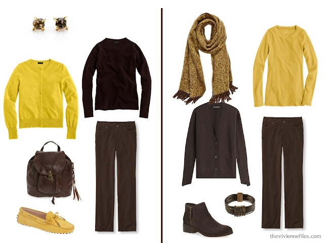 Wearing brown and gold together - two ideas