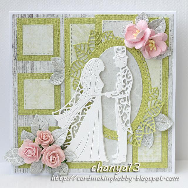 289. Kartka ślubna z zielonym