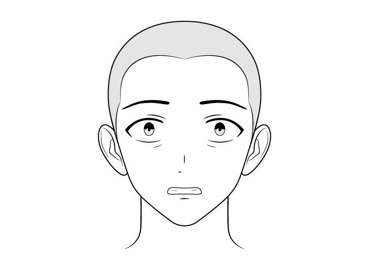 Antek anime menggambar wajah takut