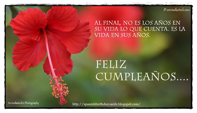 Tarjeta de cumpleaños, años, vida, cuenta, Birthday Card, Spanish Card