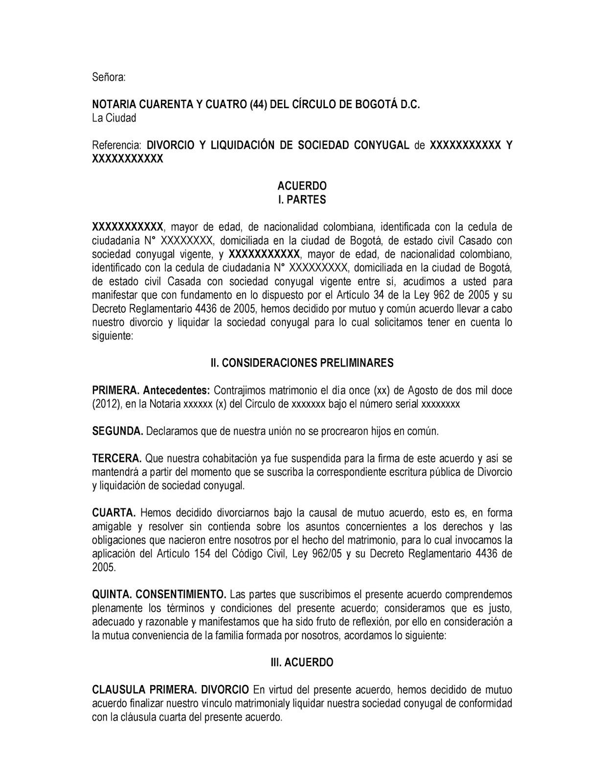 Divorcio Matrimonio Catolico Ante Notario : Modelo de divorcio en colombia