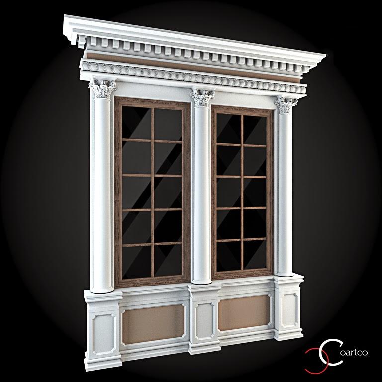 Ornamente Geamuri Exterior, Coloane Decorative fatade case cu profile decorative polistiren, profile fatada,  Model Cod: WIN-070