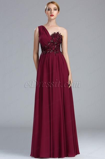eDressit Burgundy Lace Appliques Fancy Evening Gown
