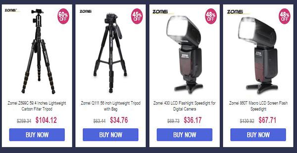 عروض شركة ZOMEI على اكسسوارات الكاميرات والتصوير