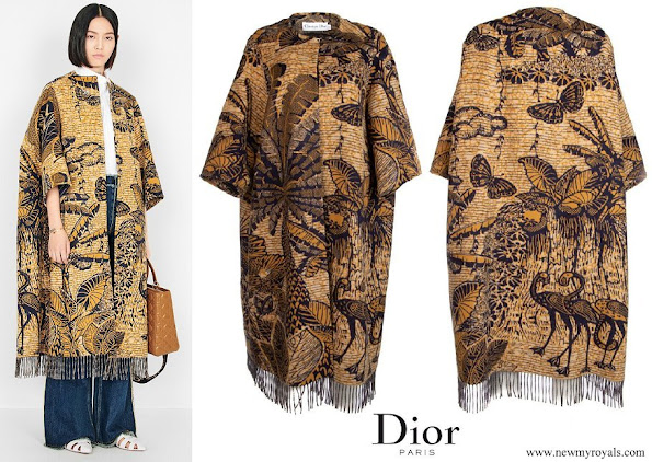 Princess Charlene wore Dior Tropicalia Toile De Jouy Opera Coat - Cruise 2020 Collection