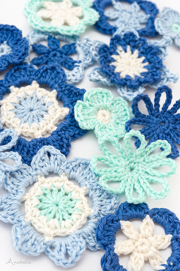 Crochet Blue Flowers Medley by Anabelia Craft Design