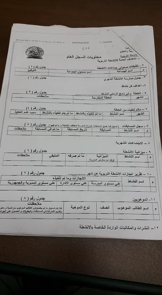 خطة الأنشطة بالمدارس وإختصاصات مشرف الأنشطة للعام الدراسي 2019 / 2020 3