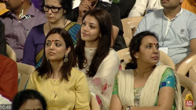 kajal agarwal stills at Isha Yoga foundation