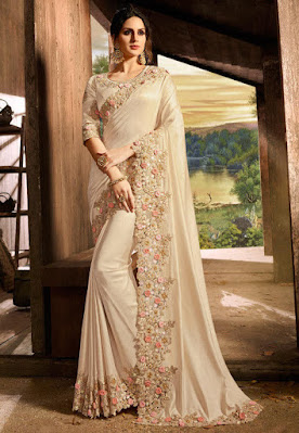 Indian Party wear Embroidered Border Art Silk Saree in Light Beige