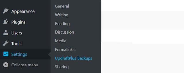 Open UpdraftPlus to setup Backup