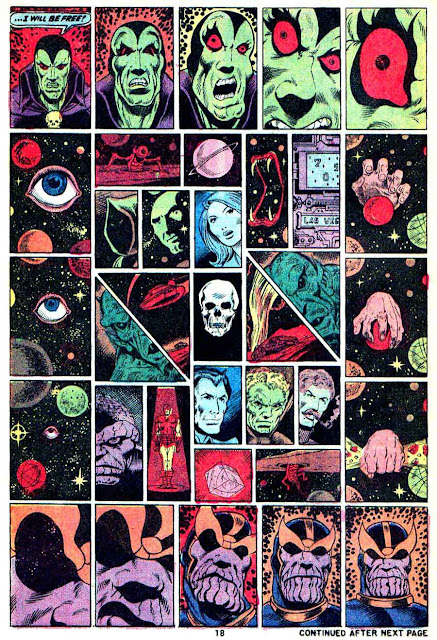 Captain Marvel #28 marvel 1970s bronze age comic book page art by Jim Starlin