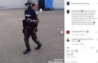 Nigerian Soldier Arrested for his leg work dancing video.