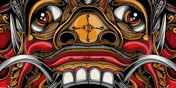 Balinese mask set vector artwork