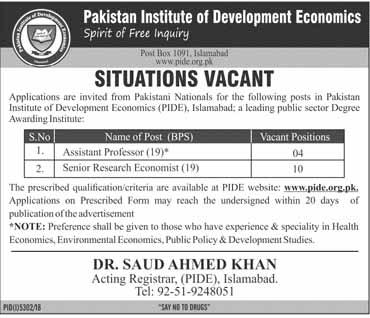 Jobs In Pakistan Institute of Development Economics