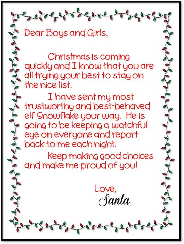Elf On The Shelf First Day Letter