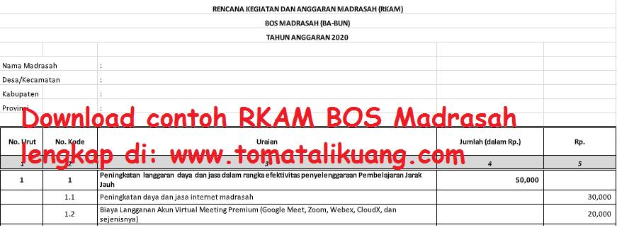 Download Contoh Rkam Bos Madrasah Ba Bun Mi Mts Ma Tahun 2020 Tomatalikuang Com Berita Pendidikan Terbaru