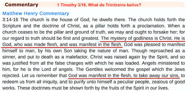 Matthew Henry Commentary. 1 Timothy 3/16, What do Trinitrains belive?