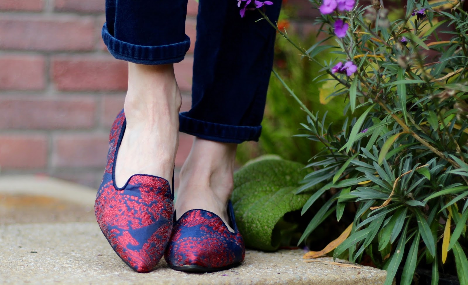 Kettlewell Navy Velvet trousers, Embroidered Shoes | Fake Fabulous