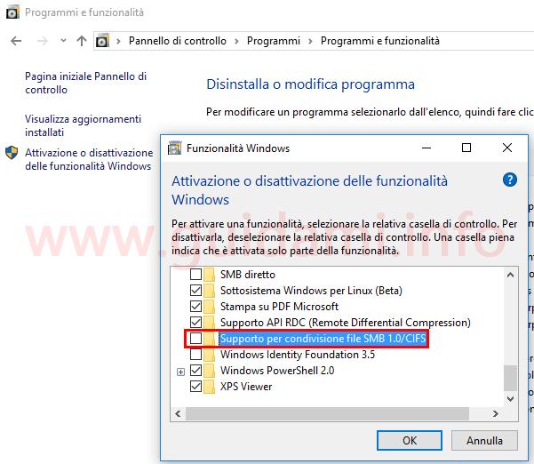 Disattivare protocollo SMB 1 da Funzionalità Windows contro WannaCry