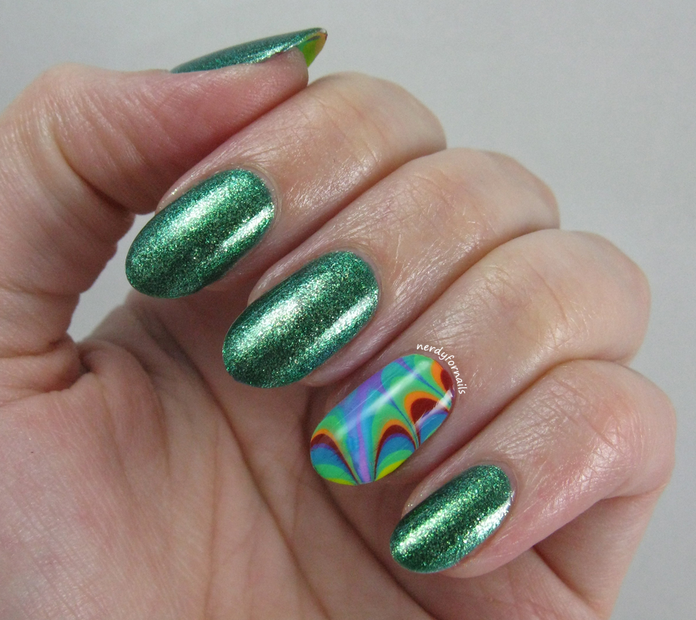 Nerdy for nails seven days of st patricks rainbow water marble seven days of st patricks rainbow water marble nail art prinsesfo Image collections