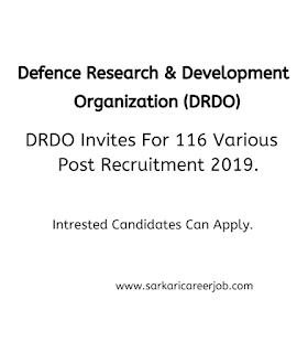 DRDO various post government job vacancies, latest govt jobs,