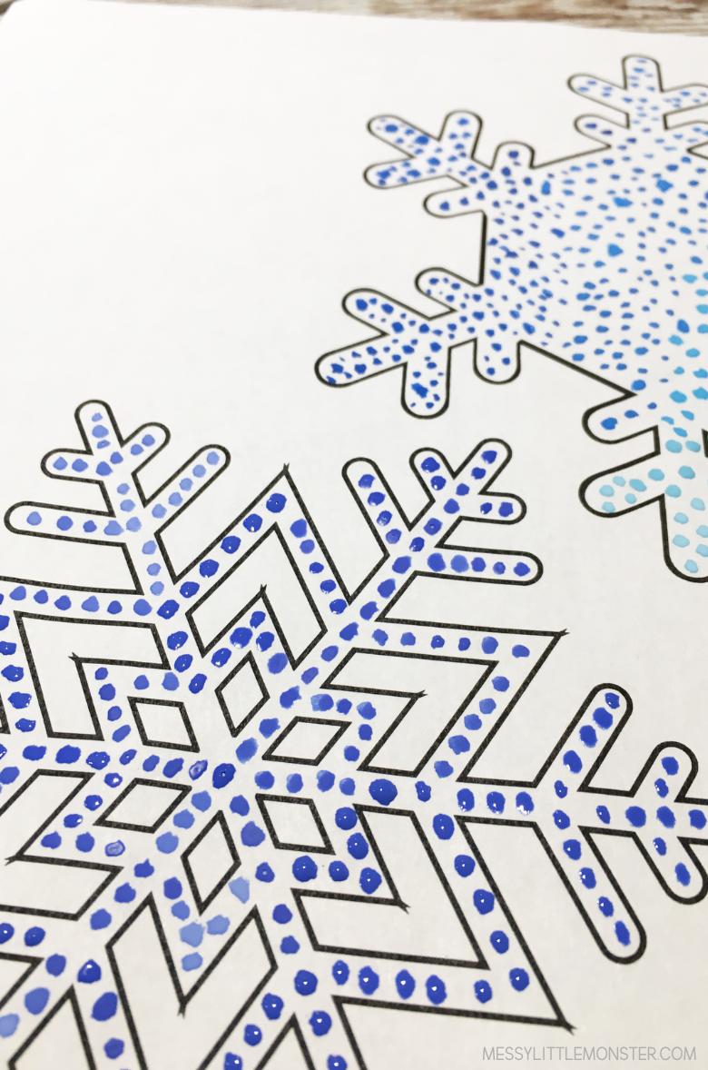 snowflake pointillism art for kids