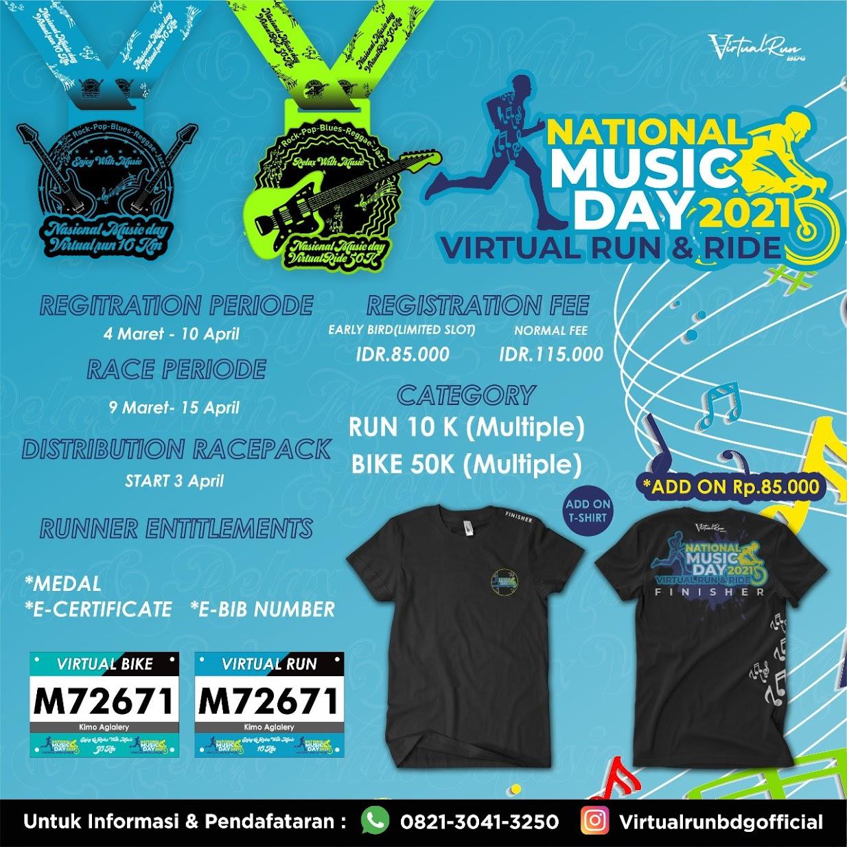 National Music Day - Virtual Run & Ride • 2021
