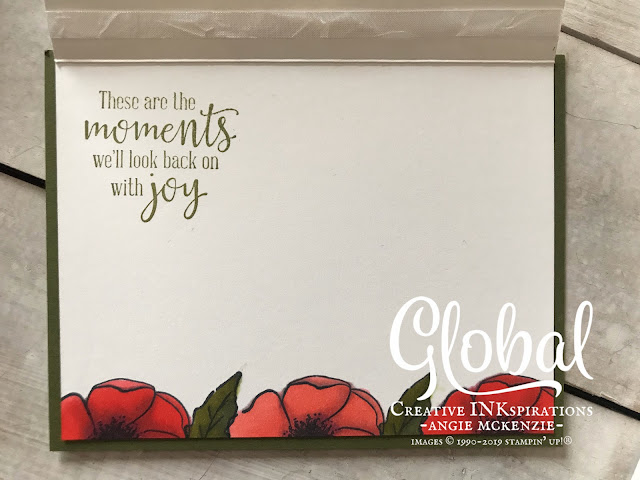 By Angie McKenzie for Global Creative Inkspirations; Click READ or VISIT to go to my blog for details! Featuring the Painted Poppies Stamp Set and Peaceful Moments Stamp Set which are part of the Peaceful Poppies Suite; #paintedpoppiesstampset #peacefulmomentsstampset #stamparatus #coloringwithblends #stampingtechniques #cardtechniques #stampinup #handmadecards #stampinblends #ontheedgestamping #fussycutting #twocardsinone