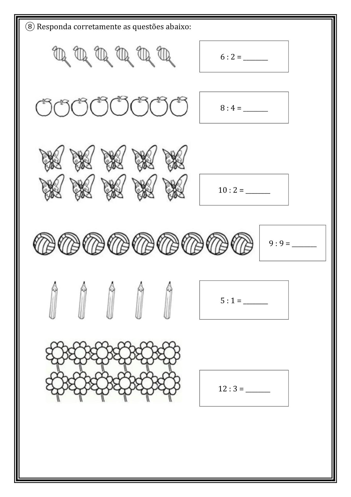 Atividade Matemática 2º Ano: Divisão e Metade pronta para imprimir