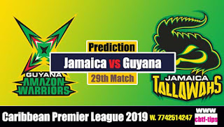 Who will win Today CPL T20 2019 29th Match Jamaica vs Guyana