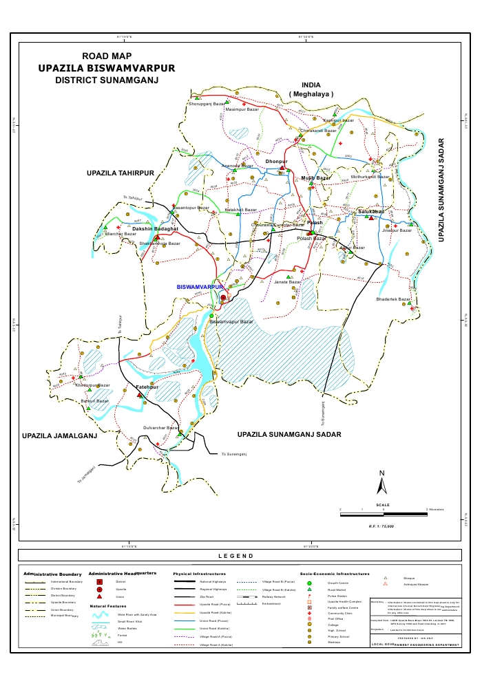 Bishwamvarpur Upazila Road Map Sunamganj District Bangladesh