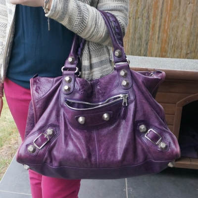 balenciaga purple work bag with g21 silver hardware magenta skinny jeans | awayfromtheblue