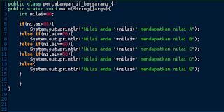 Percabangan If, If-else, dan If Bersarang pada Java