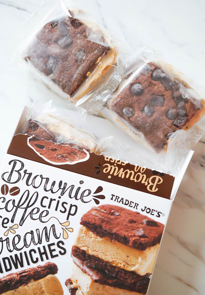 Trader Joe's review: brownie crisp coffee ice cream sandwiches | bakeat350.net