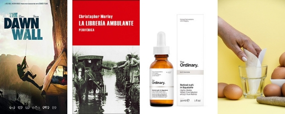 Carte de The Dawn Wall, portada de La librería ambulante, frasco de serum de retinol y huevos