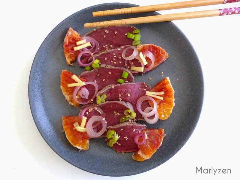 Tataki de boeuf à l'orange sanguine.