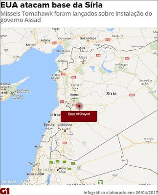 O Imperio Ataca: Mísseis Tomahawk foram disparados de navios americanos e varrem base de Al Shayrat, na Síria do mapa