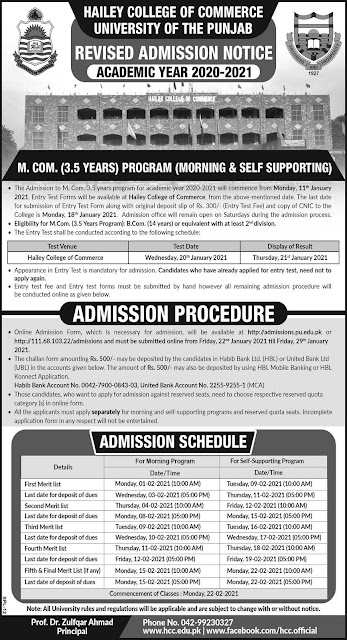 punjab university lahore admissions are open for m.com 3.5 years, apply now for ucp online admission.