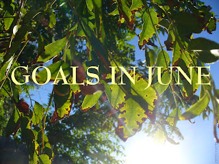 Photo of sun shining  through green and brown leaves hanging from a branch.  Large bright text reads: Goals in June.  Smaller text on side reads: petticoatpedaler.blogspot.com