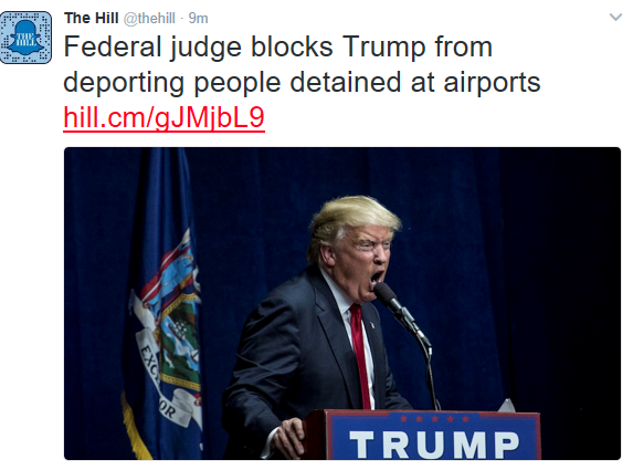 Breaking News! Federal judge blocks Trump's immigration order from deporting people detained at airports
