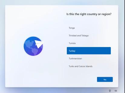 تنصيب ويندوز 10 اختيار الدولة