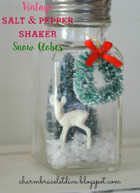 DIY vintage salt and pepper shaker snow globes mini reindeer bottle brush tree