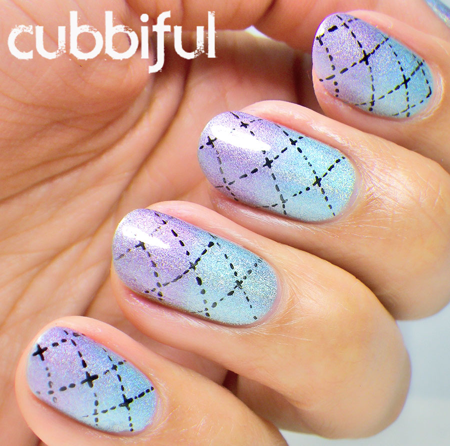 argyle pattern over holographic gradient nails