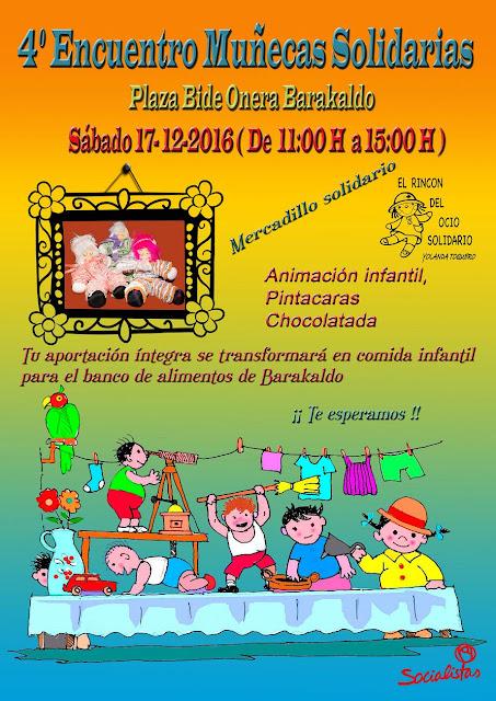 Cartel del mercadillo de muñecas solidarias